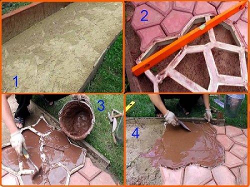 Своими руками форма для заливки садовых дорожек 9