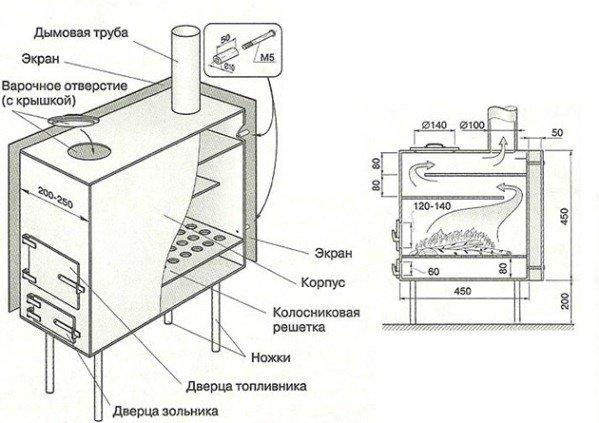 Печка своими руками из металла чертежи 54