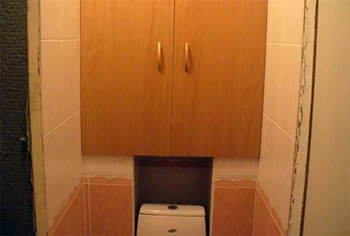 Как сделать шкаф в туалете за унитазом своими руками фото