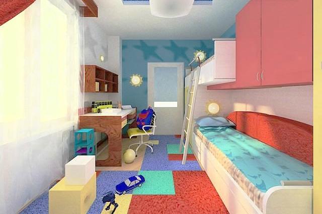 Дизайн детской длинной узкой комнаты фото