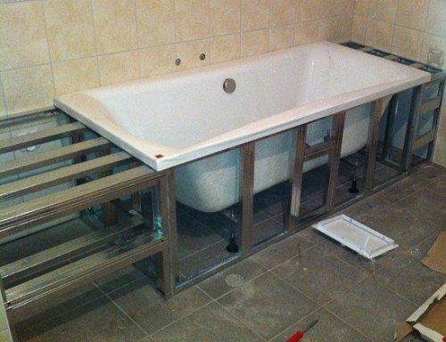 Как закрыть ванну сбоку своими руками 45