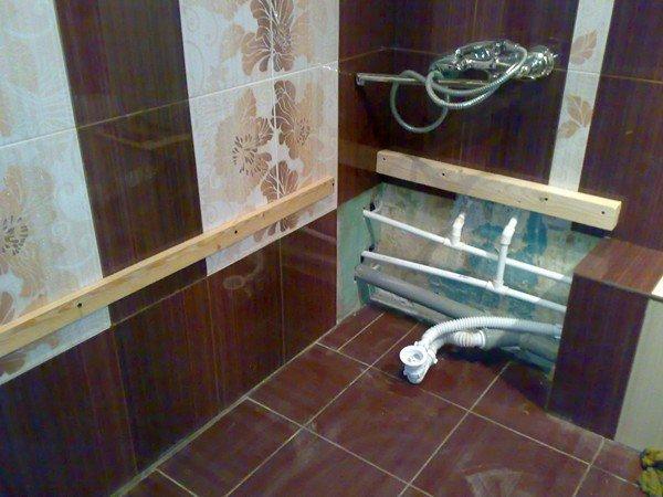 Проводка труб в ванной комнате 105