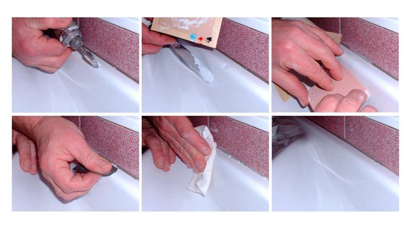 Как заделать сколы на ванне своими руками видео