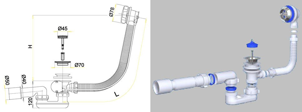 Схема установки сифона для мойки