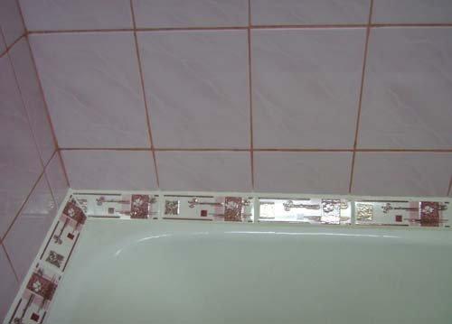 Как сделать бордюр в ванной у стены 29