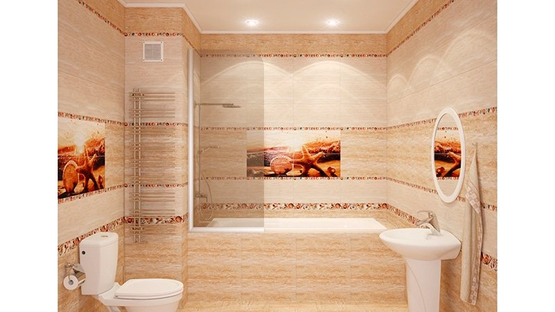 Дизайн ванной комнаты с панно фото