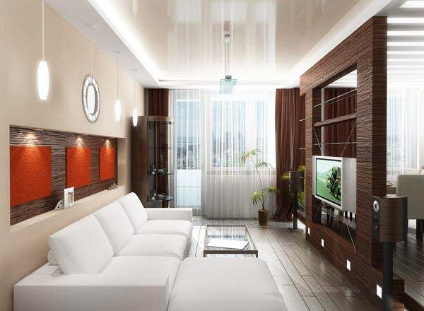 Дизайн узкой длинной кухни гостиной