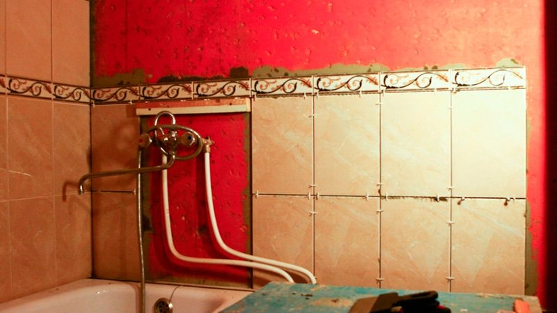 Install bathroom ceramic tile