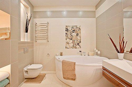 Дизайн ванной комнаты бежевого цвета