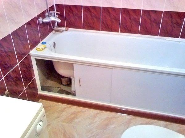 Как закрыть ванну сбоку своими руками 46