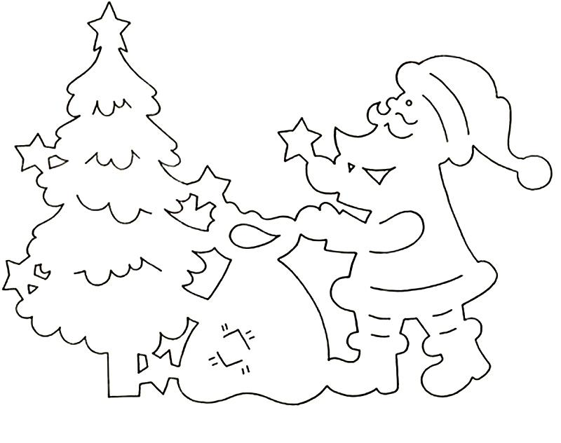 Трафарет новогоднего украшения окон из бумаги