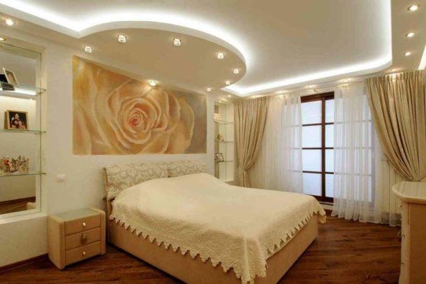 Дизайн стелі спальня гіпсокартон