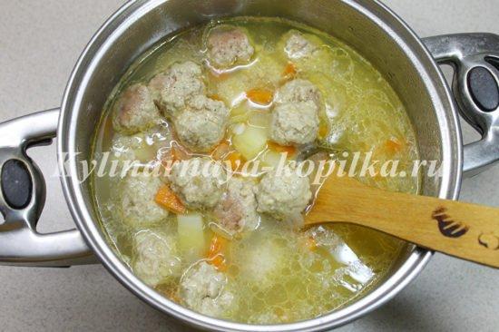 Суп с фрикадельками рис пошаговый рецепт с фото