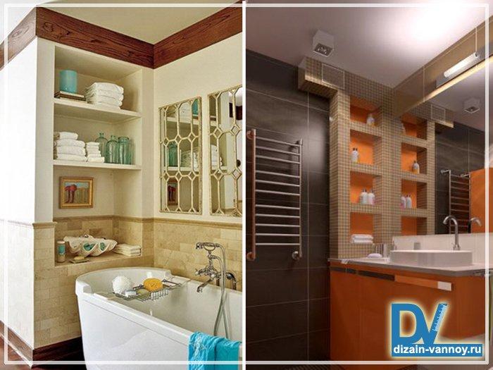 Полки в ванне дизайн