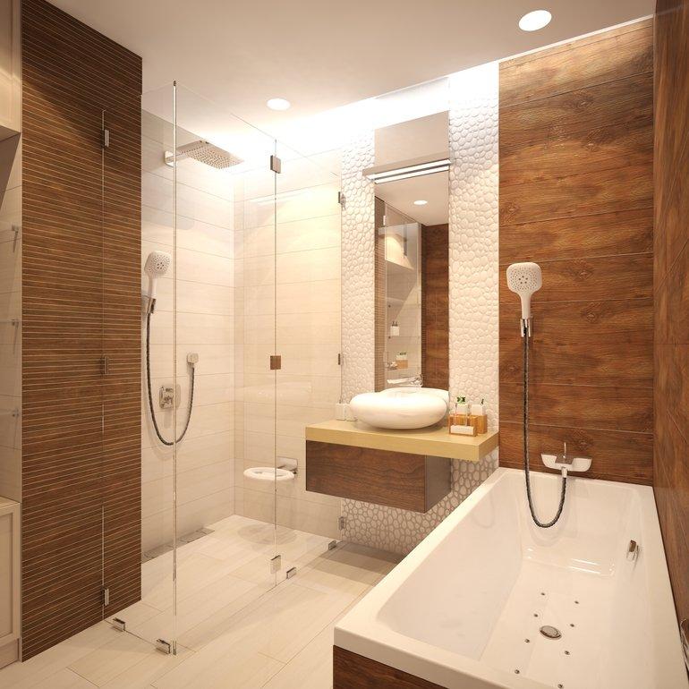 Дизайн ванной комнаты с керамогранитом под дерево