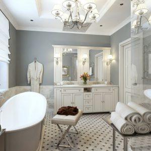 Ванна кімната в класичному стилі, оздоблення поверхонь і вибір кольору