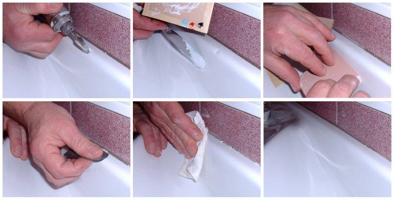 Как убрать скол на акриловой ванне в домашних условиях