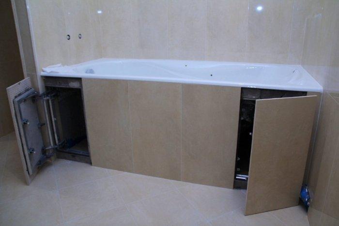 Как сделать раздвижной экран под ванной своими  612
