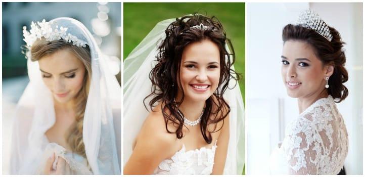 Прически для невест с диадемой и фатой фото