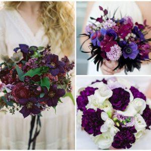 Фіолетовий букет нареченої: ідеї та оформлення фото