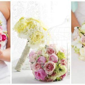 Весільний букет з еустоми: варіанти квіткових композицій