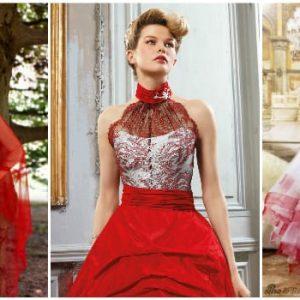 Червоно-біле весільне плаття: фото та ідеї фасонів