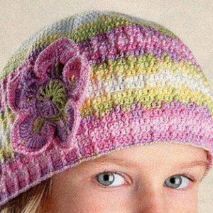 В'язання гачком літня шапочка для дівчинки схема в'язання