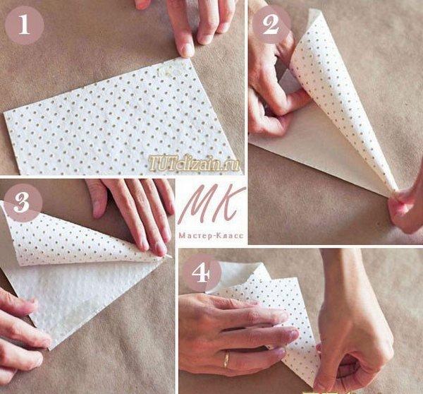 Как сделать кулёк для цветов из бумаги