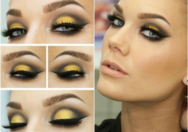 Макияж для глаз под желтое платье